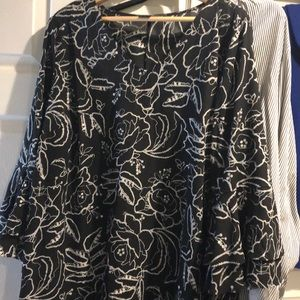 Flowered black and white blouse